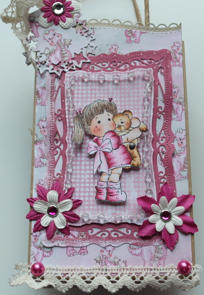 *pink dragon* OOAK Handmade Scrapbook Dragon Girl with Teddy Book in a Bag