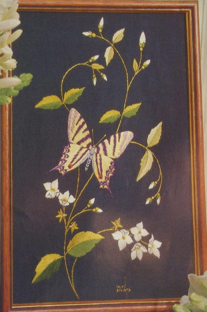 Silk embroidered Swallowtail Butterfly ~ Embroidery Pattern