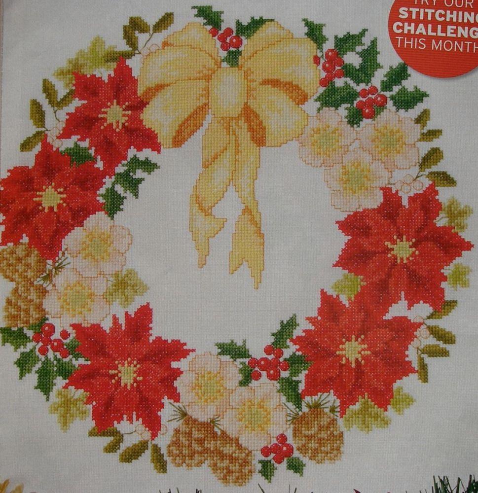 Christmas Garland of Flowers ~ Cross Stitch Chart