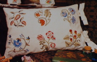 Floral Crewel Work Pillow ~ Embroidery Pattern