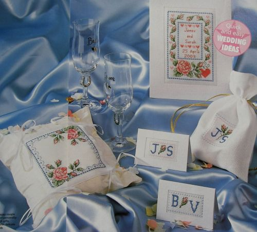 Roses Wedding Card, Ring Pillow, Place Card, Favor Bag ~ Cross Stitch Chart