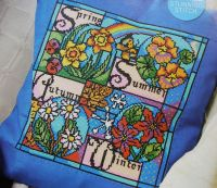 Four Seasons Stained Glass Window Cushion ~ Cross Stitch Chart