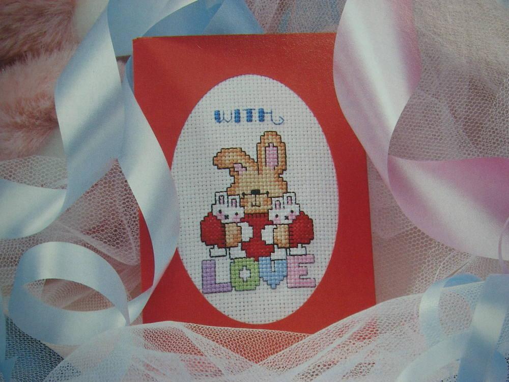 With Love Bunny Rabbit Card ~ Cross Stitch Chart