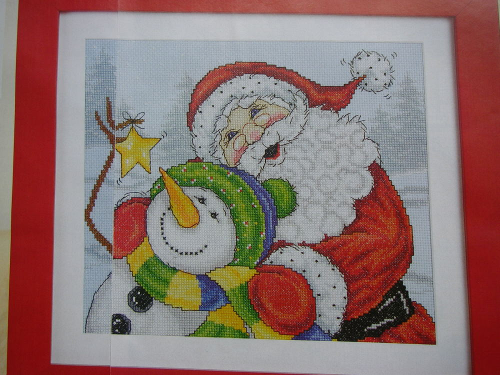 Santa Claus & Snowman in the Snow ~ Cross Stitch Chart