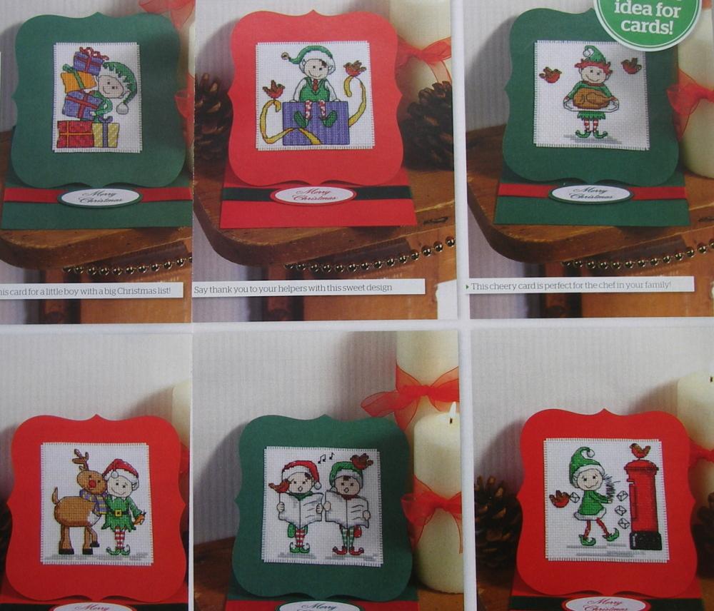 Christmas Elves ~ Six Cross Stitch Card Charts