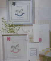 Rocking Horse Boy & Girl Pictures & New Baby Cards Cross Stitch Charts