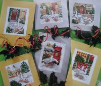 Christmas Geese Scene Cards ~ Six Cross Stitch Charts