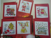Santa Claus & Rudolph Reindeer Christmas Cards ~ Six Cross Stitch Charts
