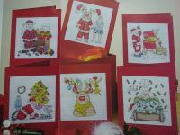 Santa Claus & Rudolph Reindeer Christmas Cards ~ Six Cross Stitch Charts