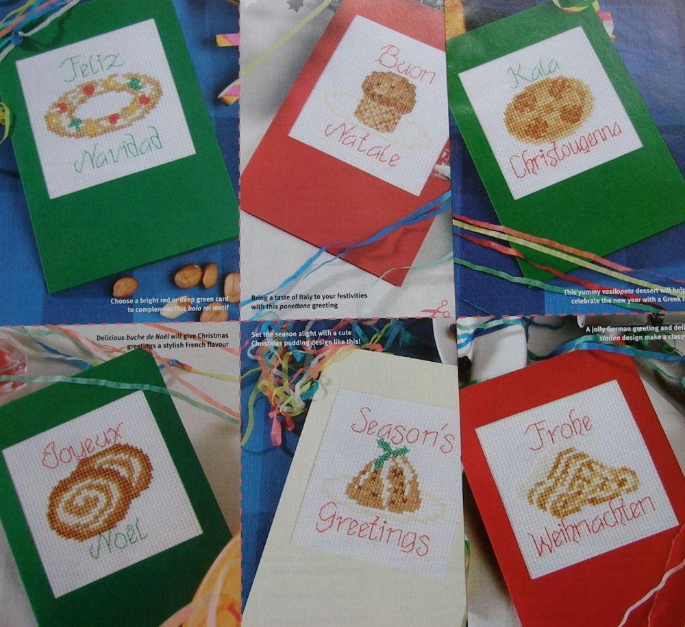 Christmas Puddings Around Europe Cards ~ Seven Cross Stitch Charts