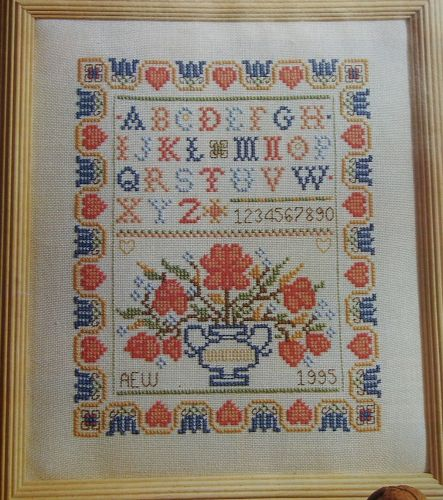 Pink Hearts & Flowers Alphabet Sampler ~ Cross Stitch Chart