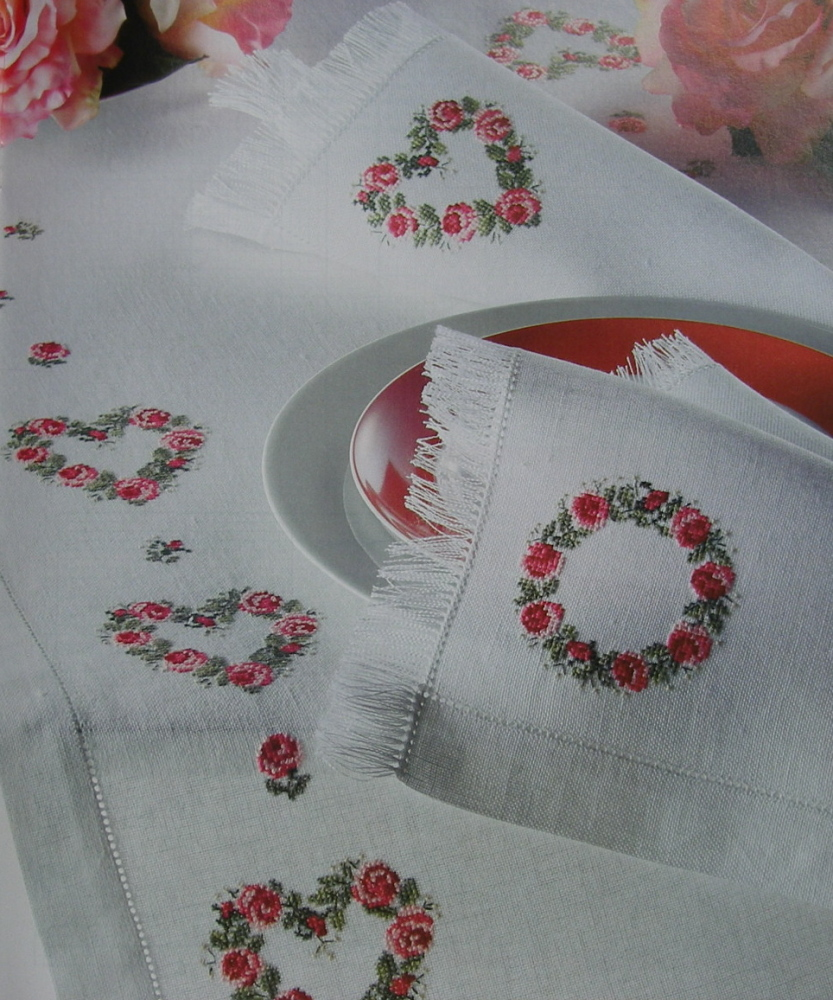 Rose Motif Table Linen ~ Cross Stitch Charts