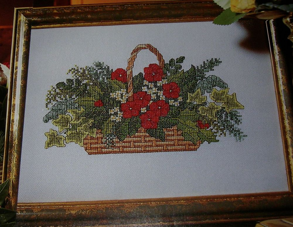 Basket of Christmas Flowers ~ Cross Stitch Chart