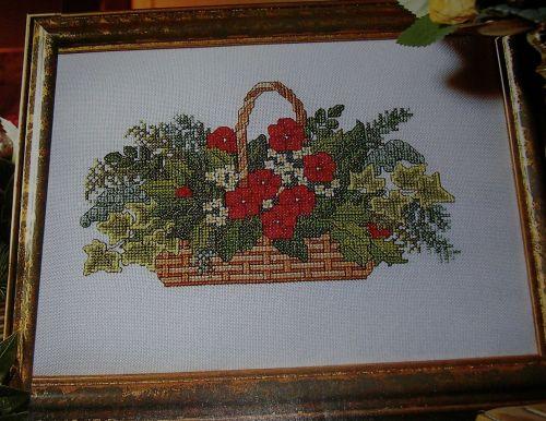 Flower Baskets Cross Stitch Charts : Winter christmas flower basket foliage ivy holly cross