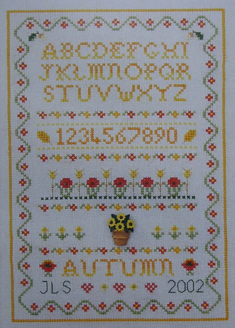 Autumn Season Sampler with Poppies & Corn ~ Cross Stitch Chart