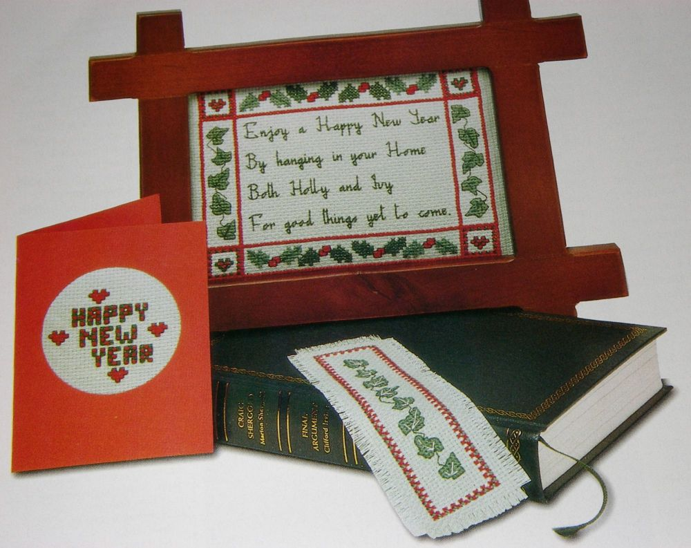 Happy New Year Card, Sampler & Bookmark ~ Cross Stitch Chart