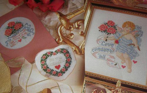 Love Conquers All: Cherub & Roses ~THREE Cross Stitch Charts