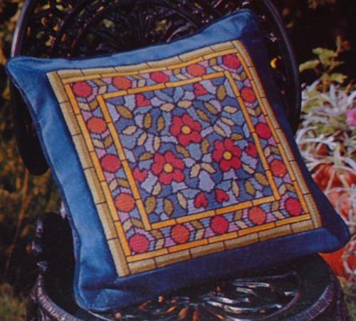 Edwardian Floral Stained Glass Window ~ Cross Stitch/Needlepoint Pattern