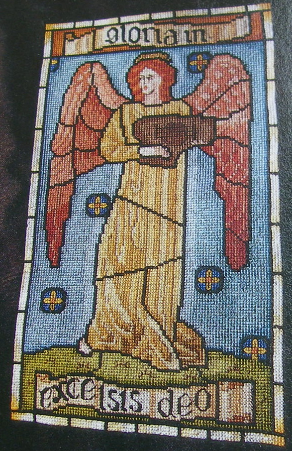 Gloria In Excelsis Deo: Stained Glass Christmas Cross Stitch Chart