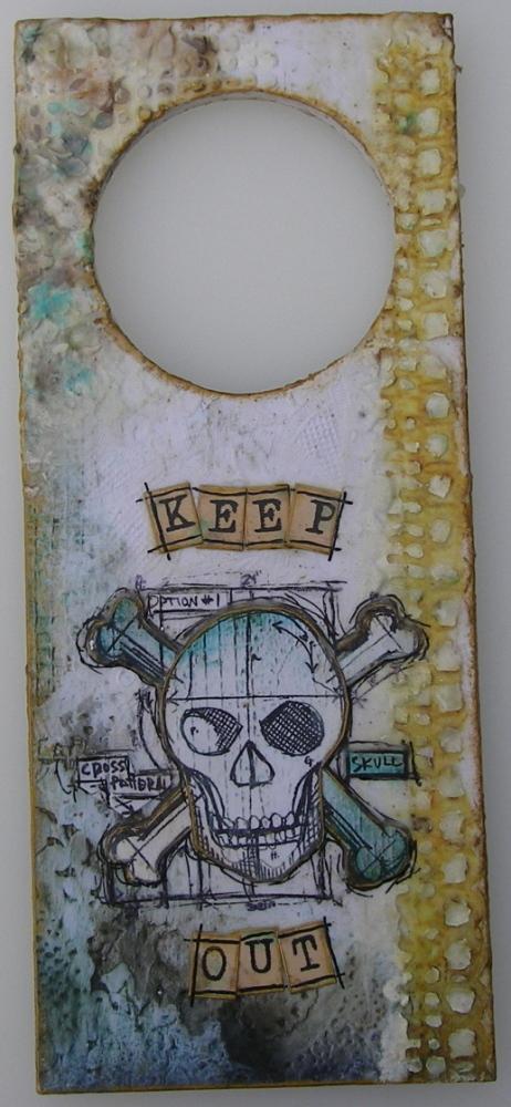 *keep out* OOAK Handmade Door Hanger / Wall Hanging