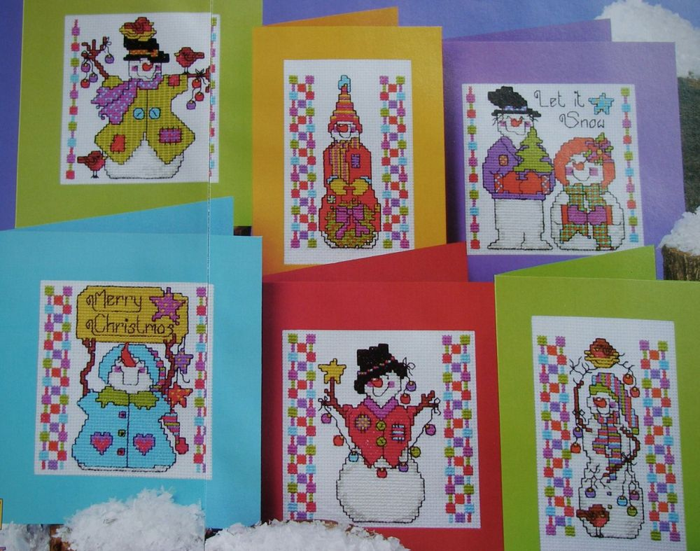 Six Snowman Christmas Cards ~ Cross Stitch Charts