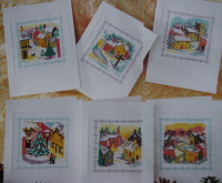 Six Snowy Rural Village Scene Christmas Cards ~ Cross Stitch Charts
