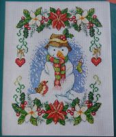 Snowman & Robin with Christmas Foliage ~ Cross Stitch Chart