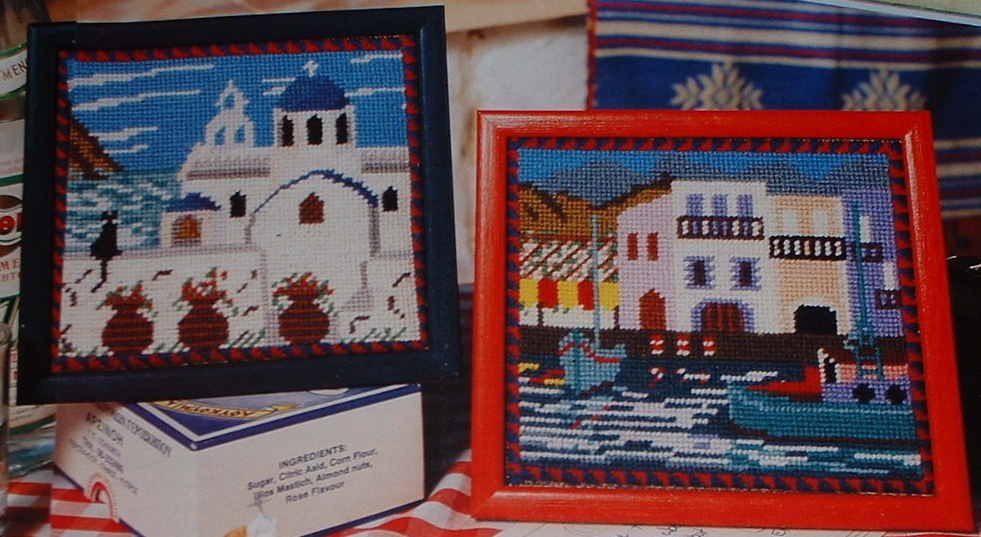Two Greek Holiday Postcard Scenes ~ Needlepoint Charts