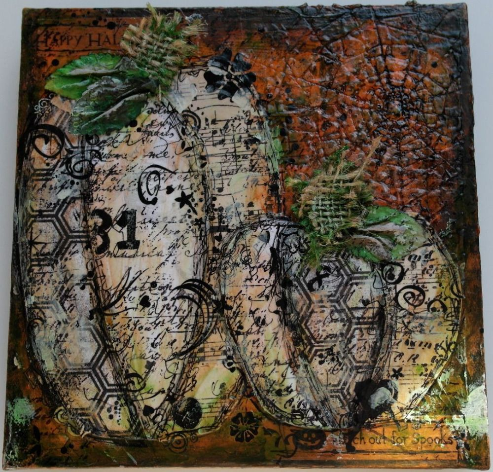 *watch out for spooks* OOAK Handmade Original Mixed Media Hallloween Canvas