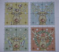 Christmas Reindeer Cards ~ Four Cross Stitch Charts