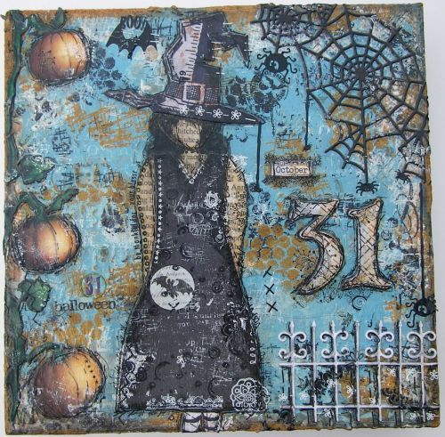 *october 31* OOAK Handmade Original Mixed Media Hallloween Canvas