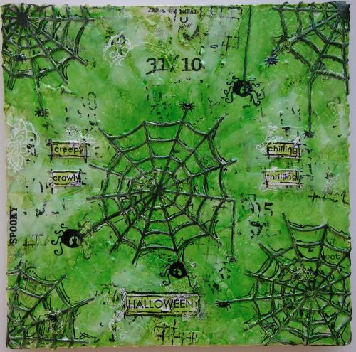 *creepy crawly* OOAK Handmade Original Mixed Media Hallloween Canvas