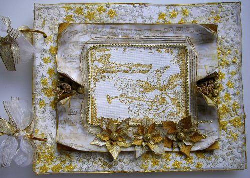 *golden cherubs* OOAK Handmade Christmas Mixed Media Photo Memory Album
