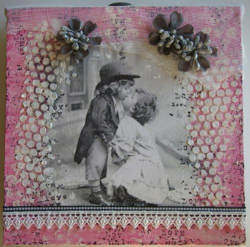 *vintage love* OOAK Handmade Original Mixed Media Valentine Canvas