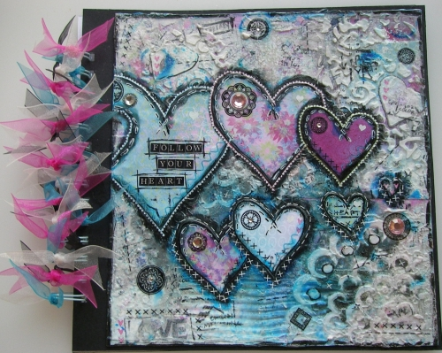 *follow your heart* OOAK Handmade Valentine Mixed Media Photo Memory Album
