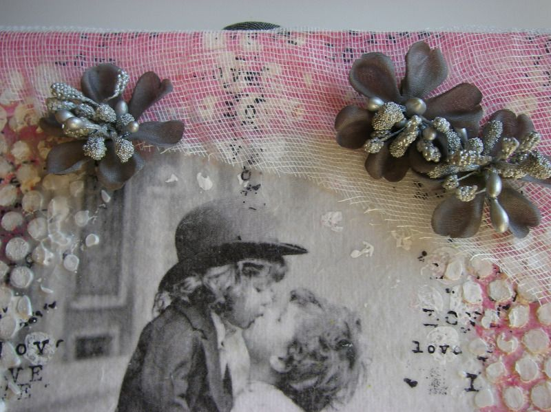 vintage love canvas flowers