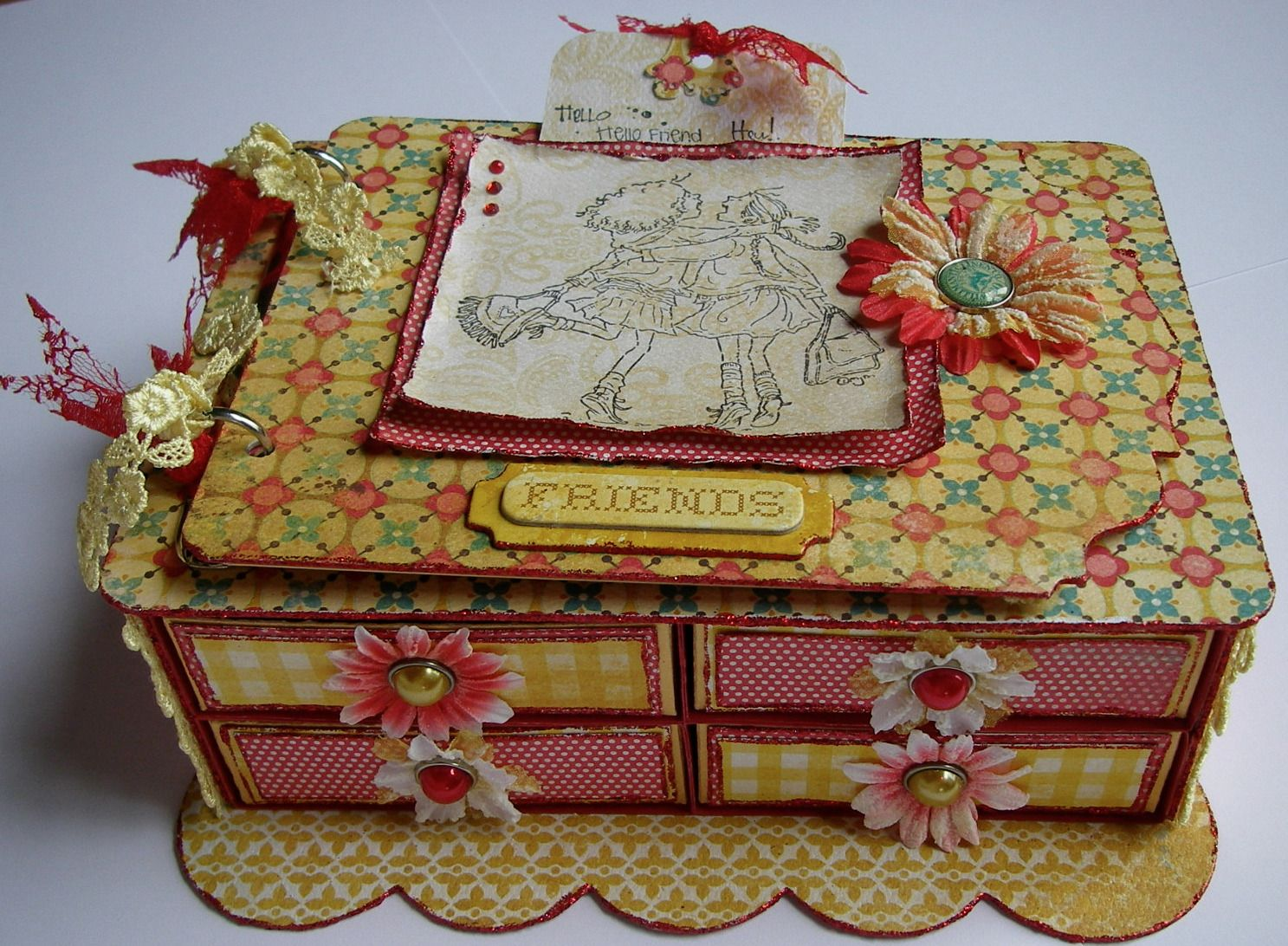 *friends* OOAK Handmade Vintage Friends Gift/Memory Box & Scrapbook