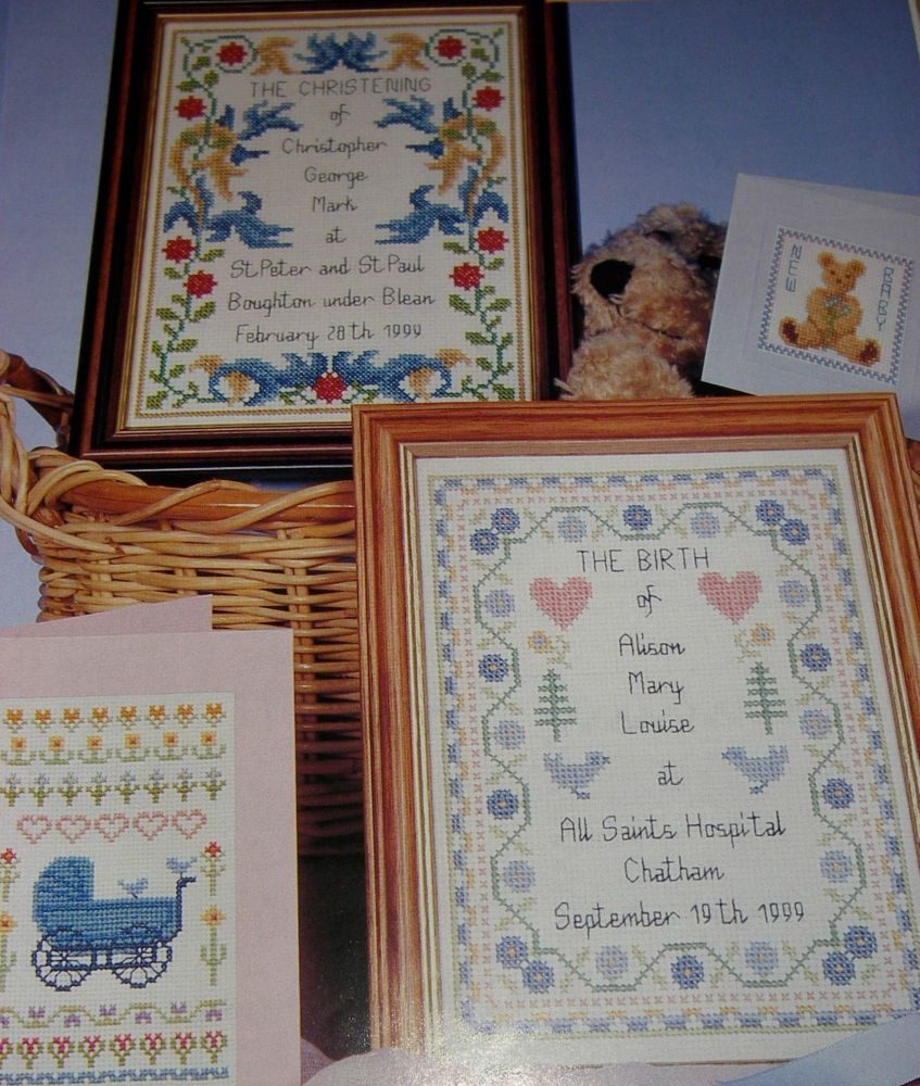 Baby Cards, Bith & Christening Samplers ~ Six Cross Stitch Charts