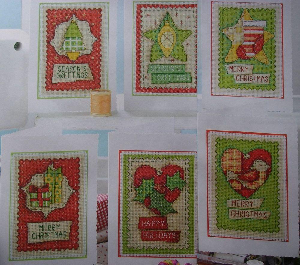 Homespun Christmas ~ Six Christmas Card Cross Stitch Charts