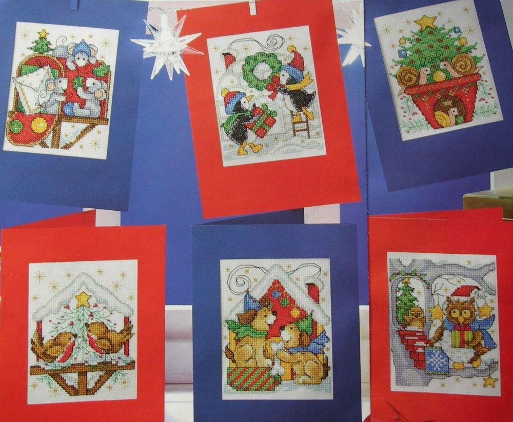 Animal Homes at Christmas ~ Six Christmas Card Cross Stitch Charts