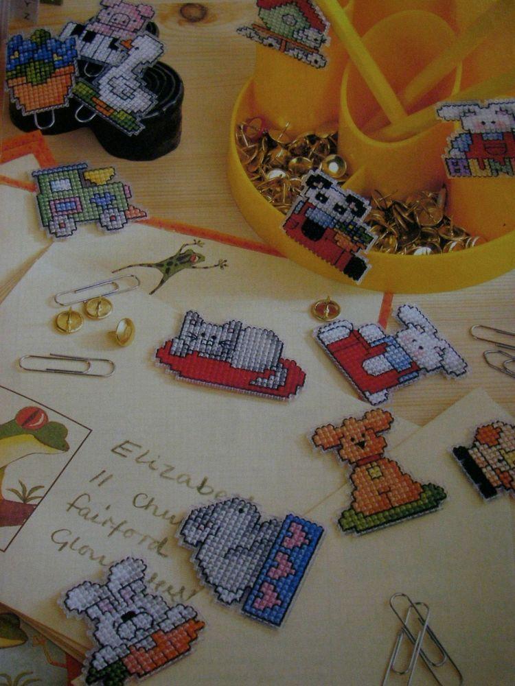 Cute Plastic Canvas Bookmarks/ Fridge Magnets ~ 20 Cross Stitch Charts