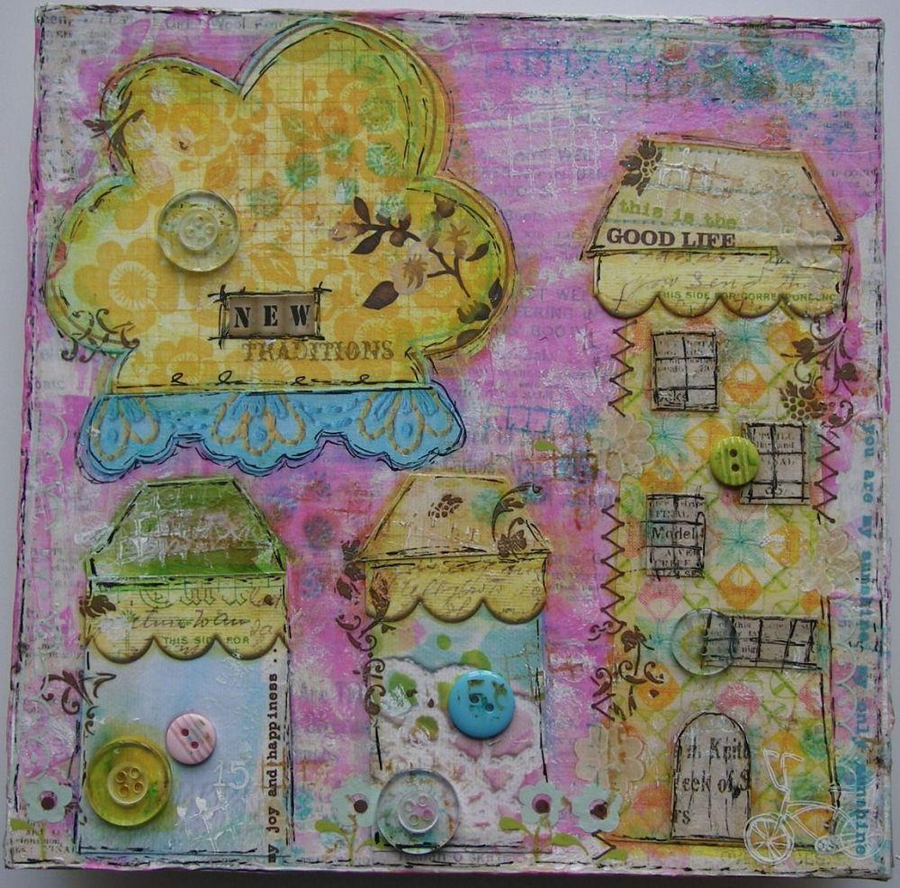 *new traditions* OOAK Handmade Original Mixed Media Home Decor Canvas