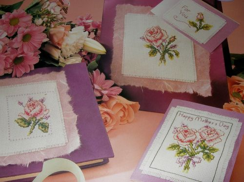 Pink Roses Cards ~ Four Cross Stitch Charts