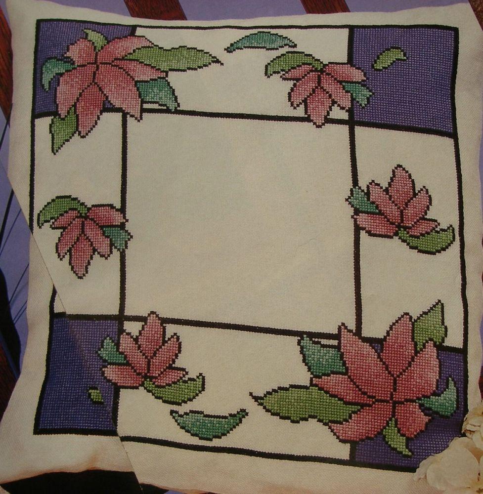 Art Nouveau Stained Glass Window Cushion ~ Cross Stitch Chart