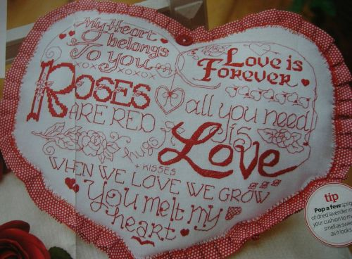 Roses Are Red Sweetheart Cushion ~ Cross Stitch Chart