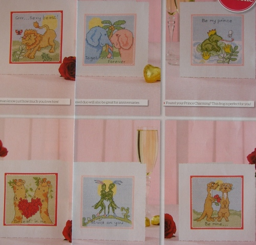 Cute Animall Valentine/Anniversary Cards ~ Six Cross Stitch Charts