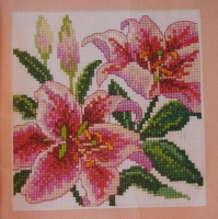 Pink Stargazer Lilies ~ Cross Stitch Chart