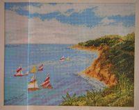 Ocean Bay Coastal Scene ~ Cross Stitch Chart