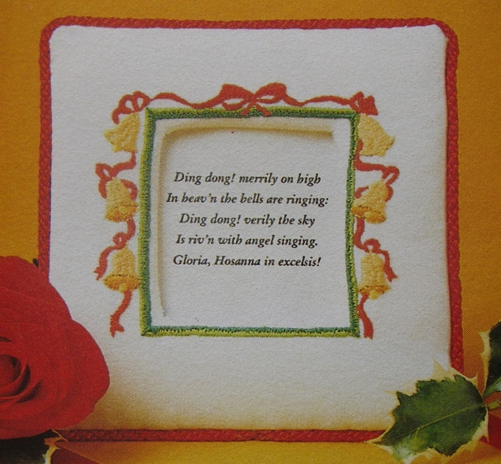 Christmas Bells & Ribbon Frame ~ Embroidery Pattern