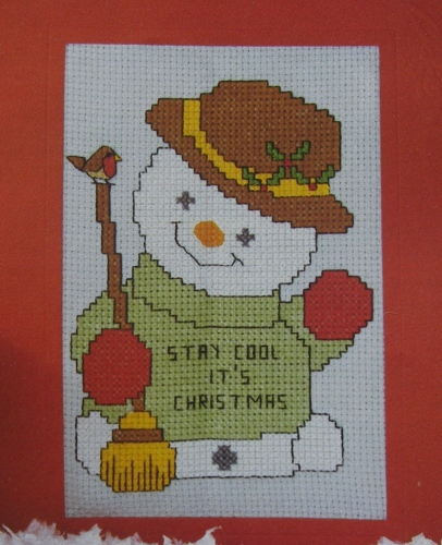 Cute Snowman Christmas Card Cross Stitch Charts Patterns For Sale
